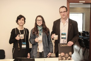 Isabel, Graciella and Eric at registration, showing off our reusable cups - courtesy of the Museum of Zoology at the University of Sao Paolo
