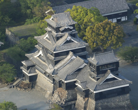 Damage to Kumamoto Castle caused by an earthquake is seen in Kumamoto, southern Japan